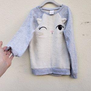 Jumping Beans Fuzzy Cat Sweater | Girls 8